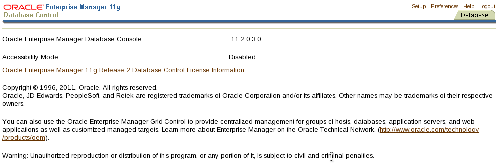 Oracle 11g Enterprise Manager DB Control Changing