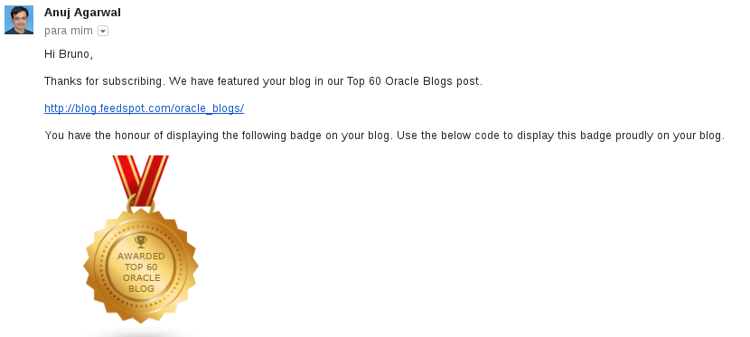 """AWARDS: """"Top 60 Oracle Blogs post"""" AND """" Oracle ACE"""
